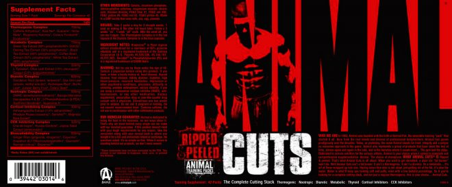 Etiqueta de Animal Cuts de Universal Nutrition